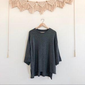 Zara Oversized Knit Bell Sleeve High Low Sweater